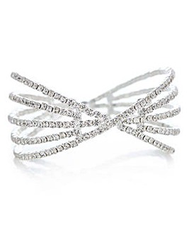 Mood crystal diamante cross over cuff