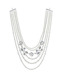 Mood crystal and pearl swirl necklace