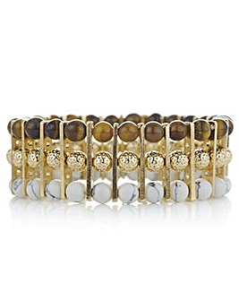 Mood triple row beaded stretch bracelet