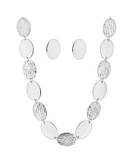 Mood textured oval disc jewellery set