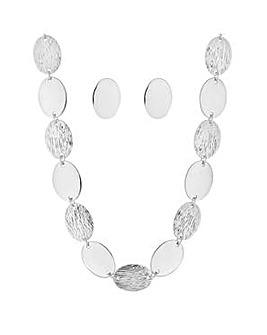 Mood textured oval disc jewellery set
