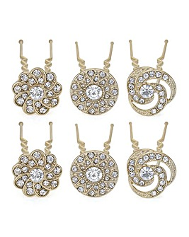 Mood crystal floral hair pin set