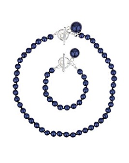 Mood blue pearl toggle jewellery set