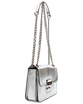 Michael Kors Silver Reptile Shoulder Bag