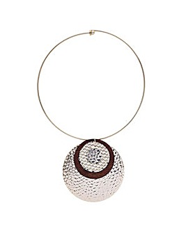 Mood multi textured disc torque necklace