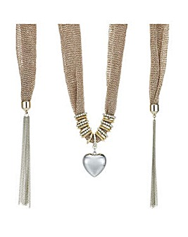 Mood heart charm scarf necklace