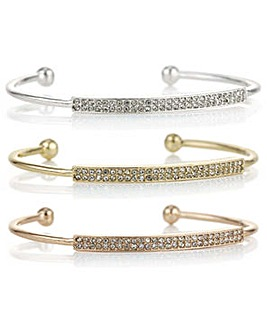 Mood multi tone pave bangle set
