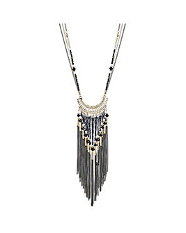 Mood tonal bead and tassel drop necklace