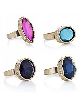Mood gold textured ring set