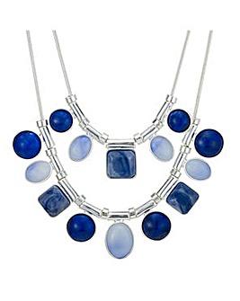 Mood blue tonal mixed shape necklace