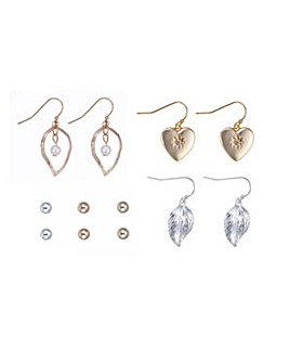 Mood multi tonal leaf earring pack