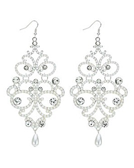 Mood pearl and crystal ornate earring