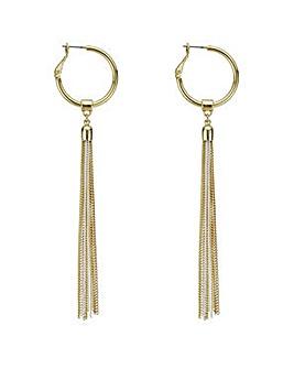 Mood multi tone hoop fringed earring