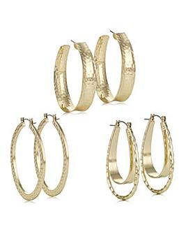 Mood textured hoop earring set