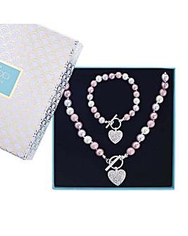 Mood pave heart toggle jewellery set