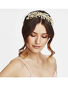 Mood leaf and pearl cluster headband
