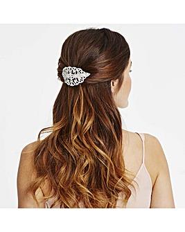 Mood silver crystal ornate hair clip