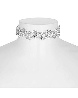 Jon Richard silver diamante wave choker