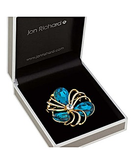 Jon Richard teal crystal loop brooch