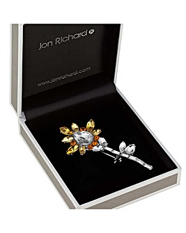 Jon Richard yellow flower brooch