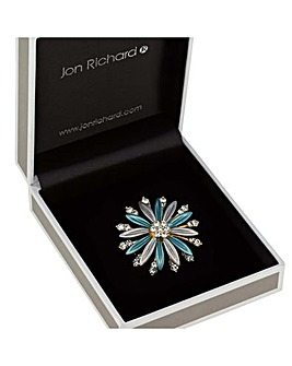 Jon Richard teal crystal flower brooch