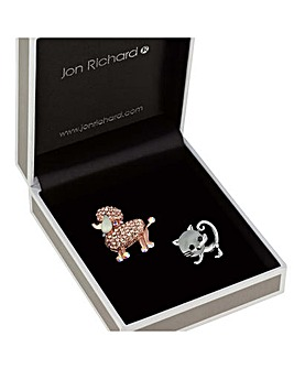 Jon Richard poodle and cat brooch set