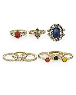 Mood multi colour ring set