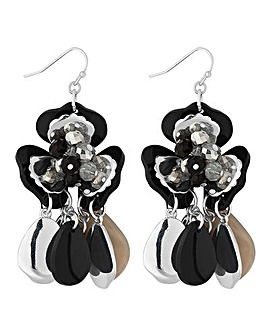 Mood black beaded flower earring