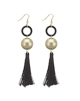 Mood black tassel and sphere earring