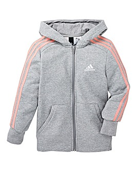 adidas Youth Girls 3 Stripe Full Zip Hoo