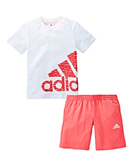 adidas Girls Little Kids Logo Summer Set