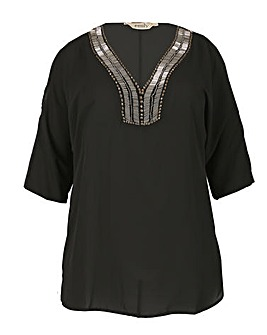 emily Cold Shoulder Embellished Top