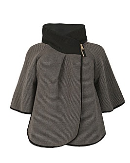 Samya Zip Neck Poncho Jacket