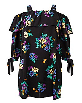 Koko Floral Print Bardot Tunic Dress