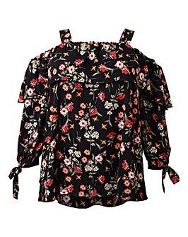 Koko Floral Print Wide Strap Bardot Top
