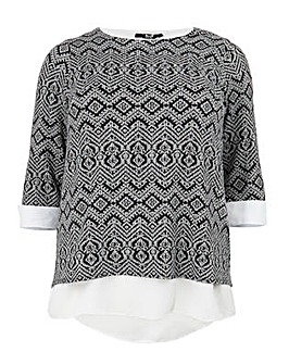 Koko Abstract Print Monochrome Top