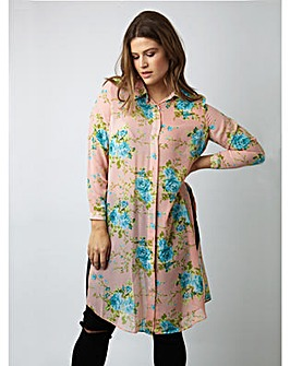 Koko Flower Print Long Line Shirt