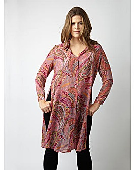 Koko Paisley Print Long Line Shirt