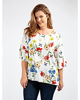 Koko Poppy Print Cold Shoulder Blouse