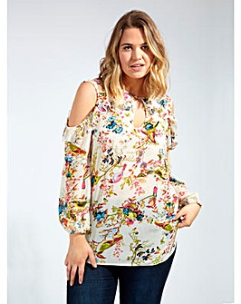 Lovedrobe GB Print Cold Shoulder Blouse