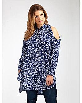 Koko Cold Shoulder Paisley Print Shirt