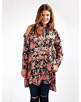 Koko Cold Shoulder Floral Print Shirt