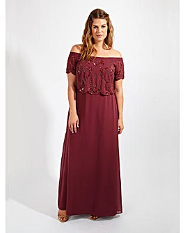 Lovedrobe Luxe Purple Bardot Maxi Dress