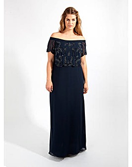 Lovedrobe Luxe Navy Bardot Maxi Dress