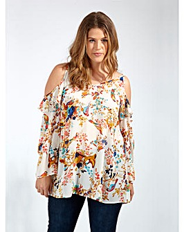 Lovedrobe GB Bird Print Ruffle Blouse