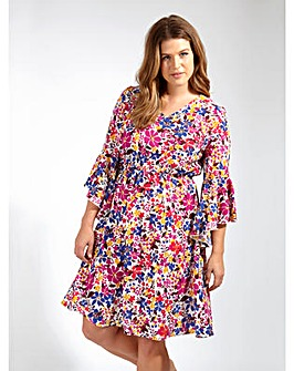 Lovedrobe GB Floral Print V-Neck Dress