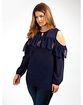 Koko Navy Cold Shoulder Ruffle Top