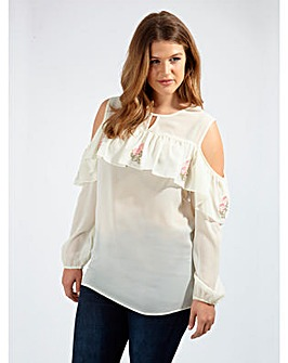Koko Cream Cold Shoulder Ruffle Top