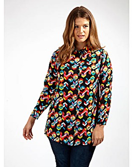 Koko Geometric Print Twist Back Shirt