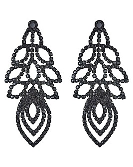 Mood Diamante Leaf Drop Earring